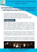 """plaquette du parcours """"Métiers du spéctacle-theâtre"""""""