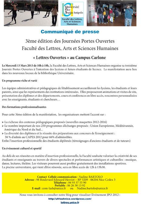 Journ e portes ouvertes mars 2013 blog ufr lash - Communique de presse portes ouvertes ...