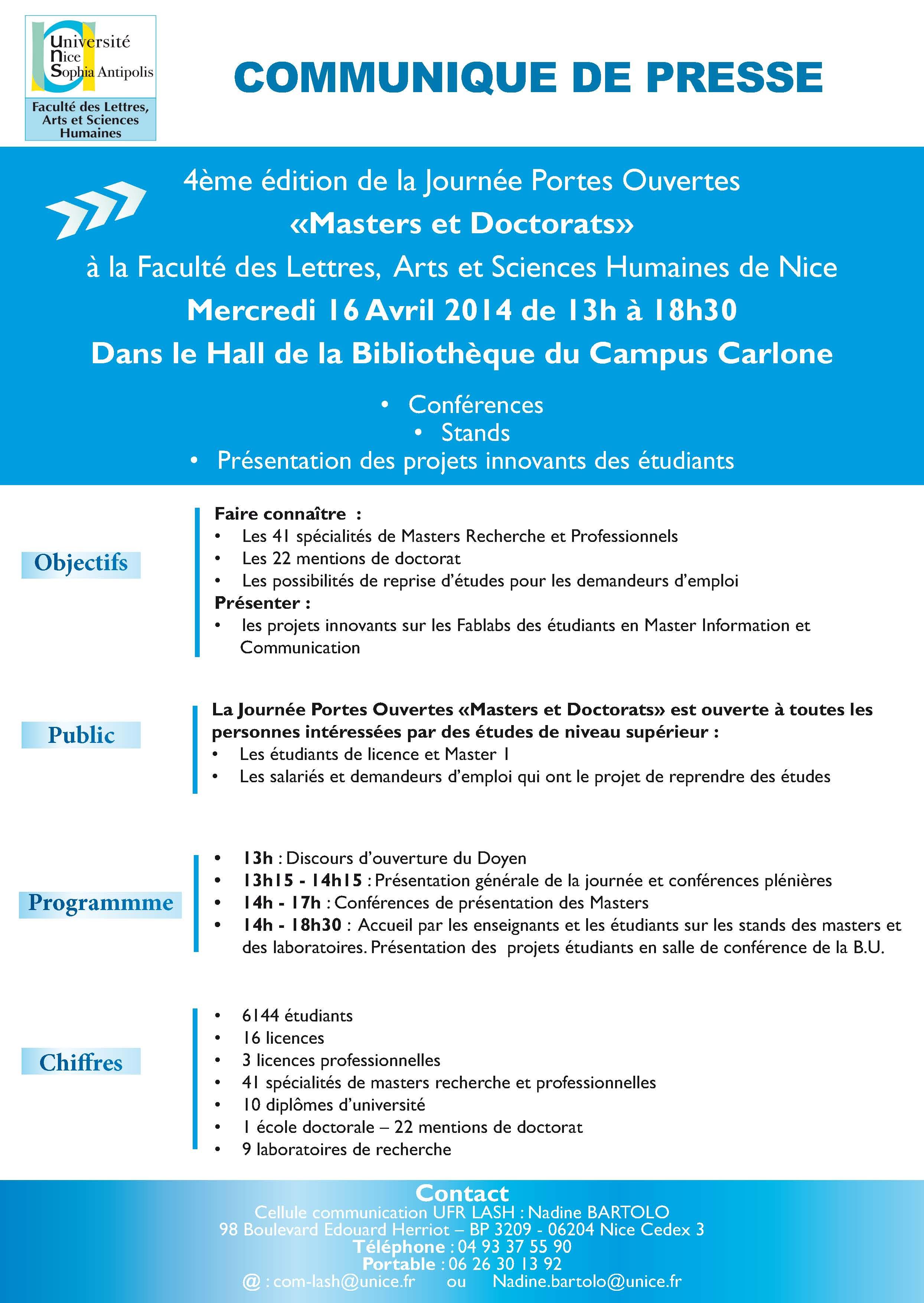 Journ e portes ouvertes masters et doctorats 2014 - Communique de presse portes ouvertes ...