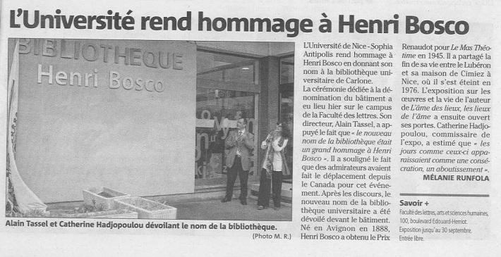 Inauguration BU Henri Bosco